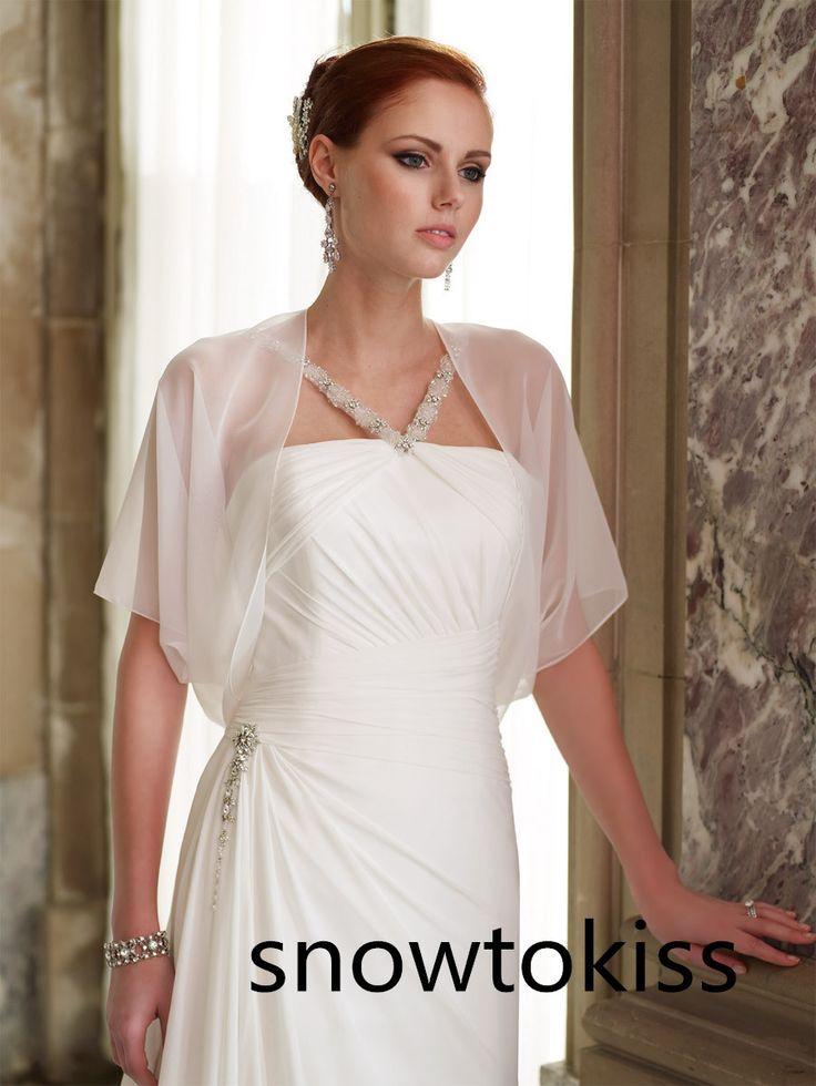 Summer Custom Size White Ivory Chiffon Short Sleeves Wrap Bridal Jacket Shrug Wedding Bolero