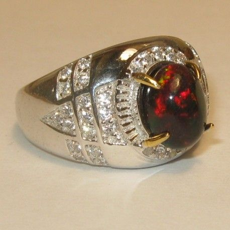 Cincin Pria Black Opal Ring 9US