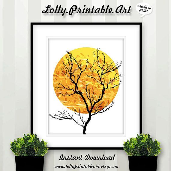 Instant Download Tree Silhouette Full Moon by LollyPrintableArt