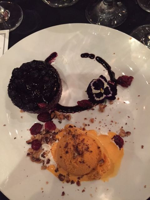 Tortina di Mirtillo- Blueberry Cheesecake served with Pumpkin Gelato