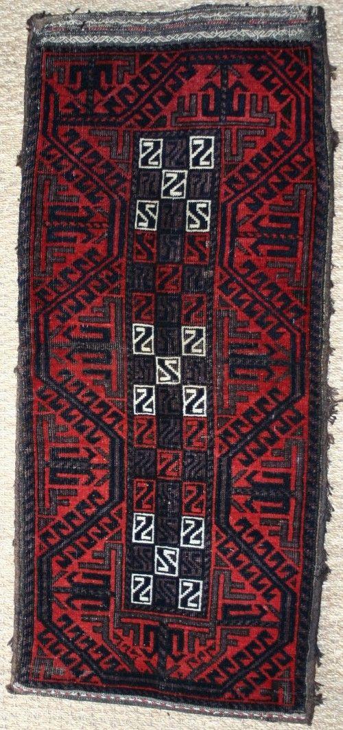 "Antique Baluch Balisht (pillow), Khorassan, North East Persia  Last Quarter 19th Century  L: 0.93m (3' 1"") W: 0.4m (16"") £750"