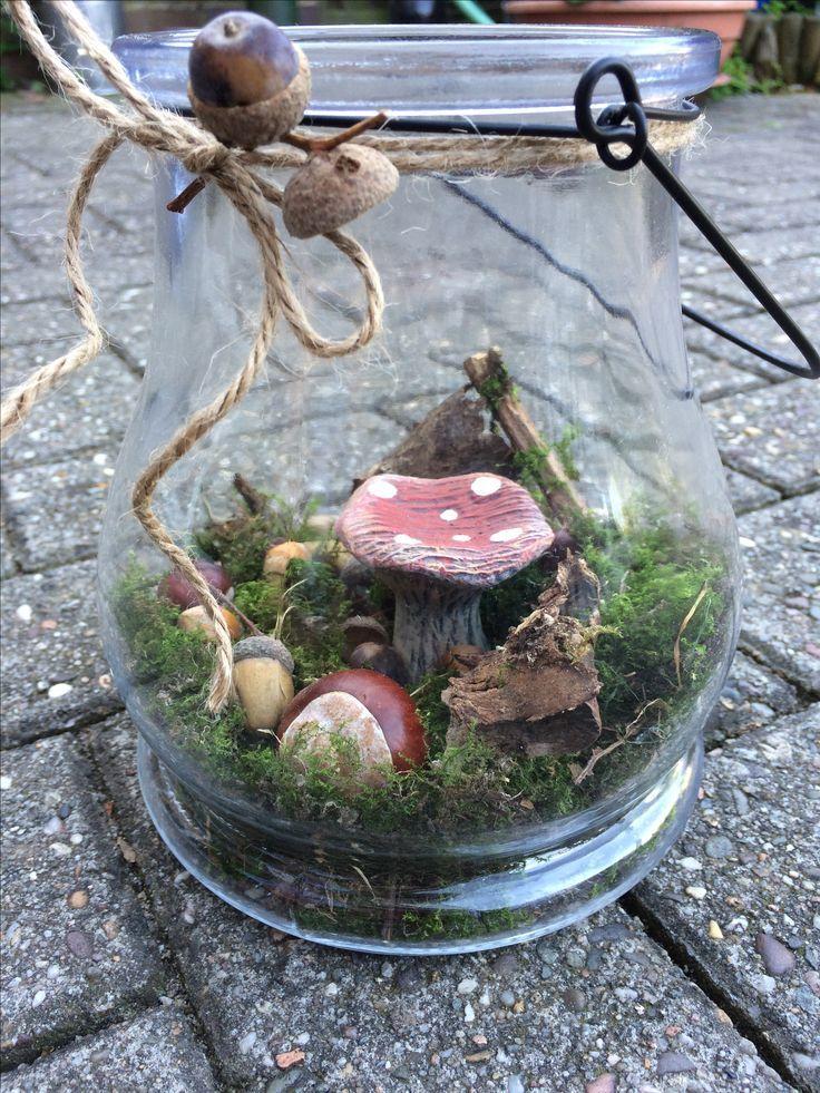 DIY Herbstdeko basteln, Wald im Glas, Herbst Dekor…