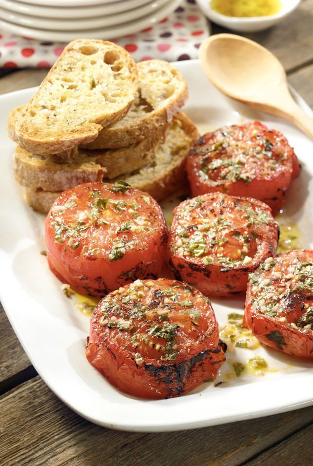 Broiled Tomatoes in Basil Vinaigrette Recipe | Get the most from your end-of-season harvest! Broiling tomatoes concentrates their natural sugars, making summer tomatoes even better.