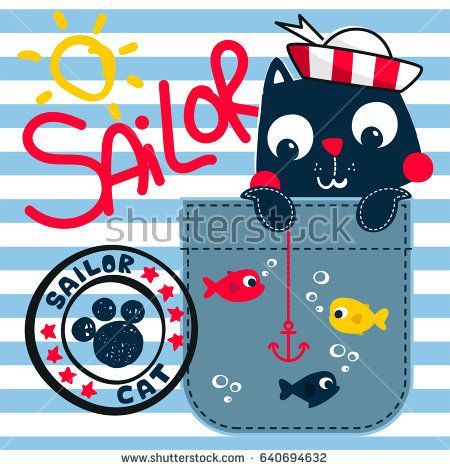 Cute sailor cat holding an anchor in the pocket on blue and white striped background illustration vector.