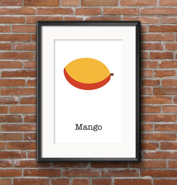 Poster kitchen Mango / Wall poster fruit / Posters by SketchChe