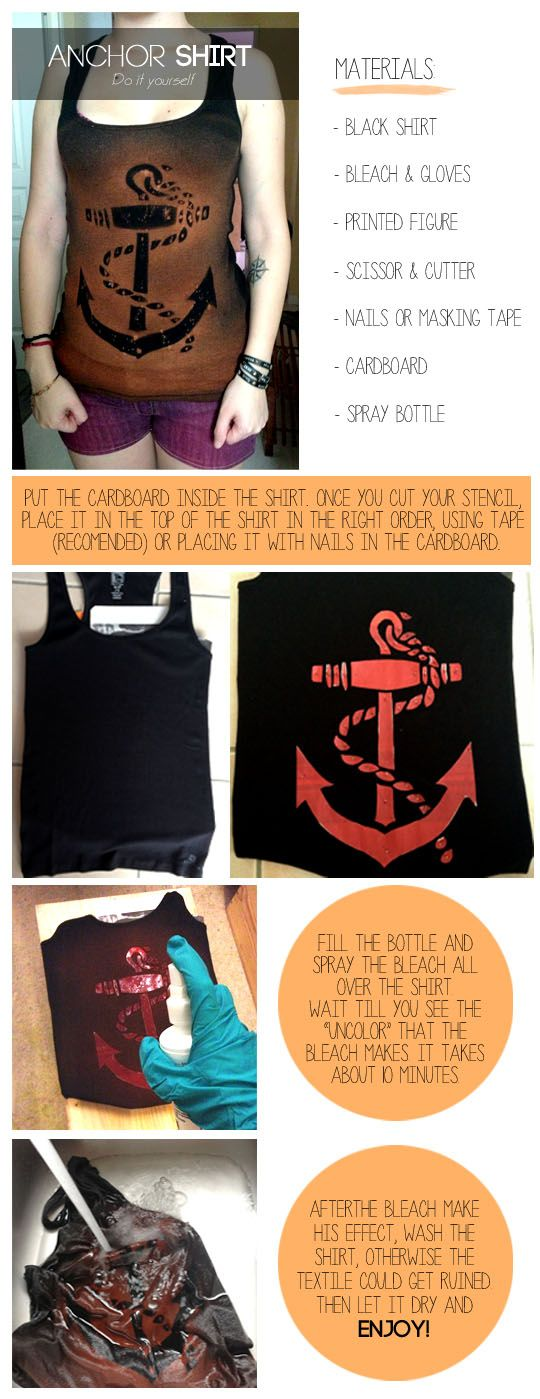 How to make an anchor logo on a shirt using only bleach and a stencil.