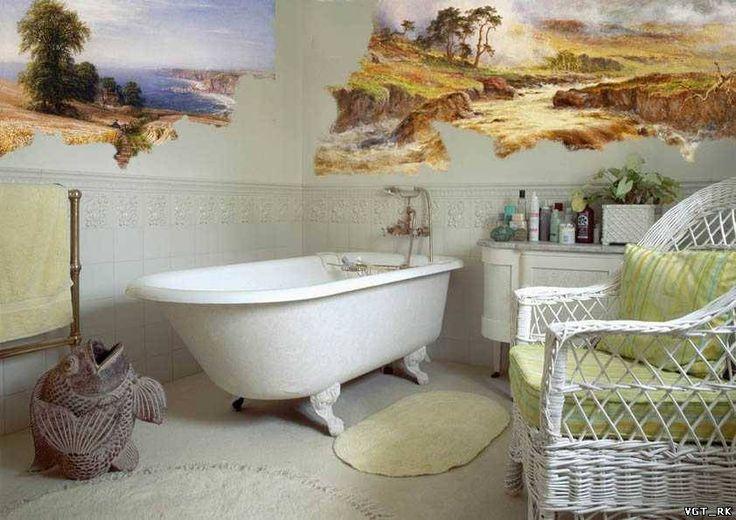 Вариант сочетания росписи 🎨 стен и отдельностоящей ванны. 🛀 Получается очень необычный интерьер, который будет радовать долгие годы 👌#смесители #сантехника #дизайн #ванна #дизайнванной #ваннаякомната