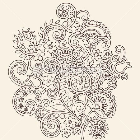Hand-Drawn Henna Paisley and Flowers Abstract Doodle — Stock Vector © jessica volinski #16205967.  Lots of other