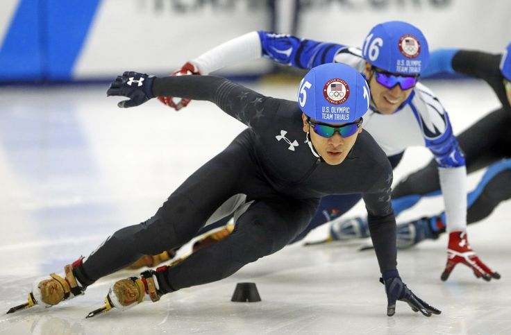 Aaron Tran, front, who is from Federal Way, is going to the 2018 Winter Olympics. He won a 500-meter final at the Olympic trials Saturday in Kearns, Utah. (Rick Bowmer/AP) 12/16/2017