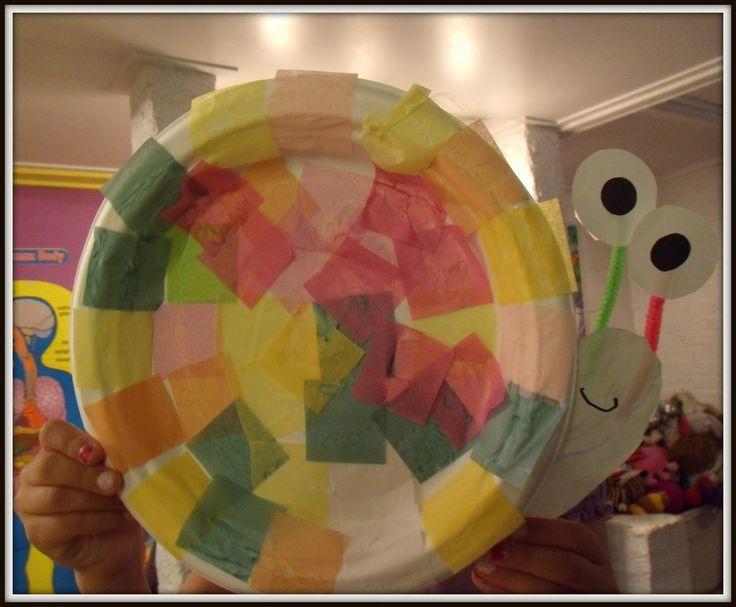 info-garderie - Transformer une assiette de carton en escargot, un brico de pré maternelle <3