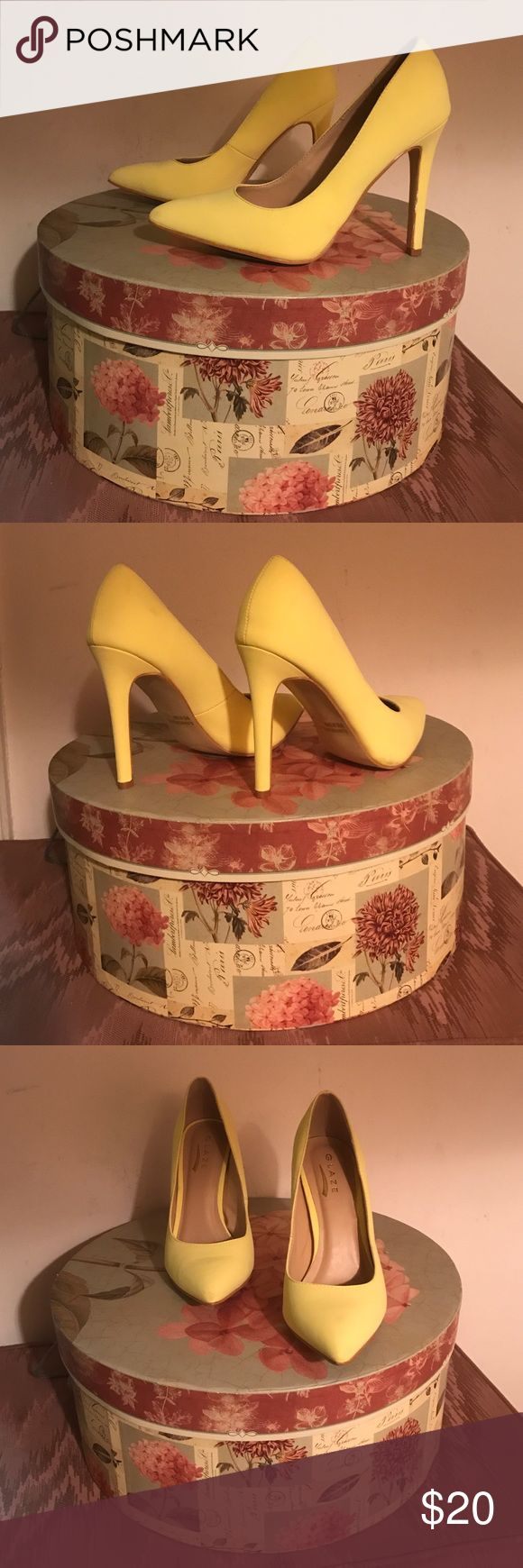 Retro Yellow Pumps Add rays of sunshine to your closet during the winter months! Gently worn (only twice) yellow pumps, size 8M. Approximate heel height: 4 inches, single sole. All manmade materials. Glaze Shoes Heels