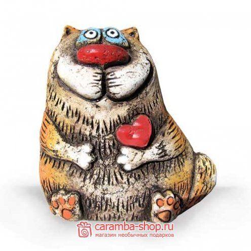 """Статуэтка """"Кот носик с сердцем"""", шамотная глина - Статуэтки из шамотной глины купить в Нижнем Новгороде"""