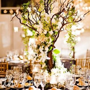 Tree centerpieces add height and drama to the room.