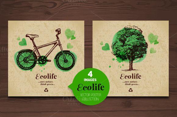 Eco Poster Vector Collection by Elena Pimonova on Creative Market