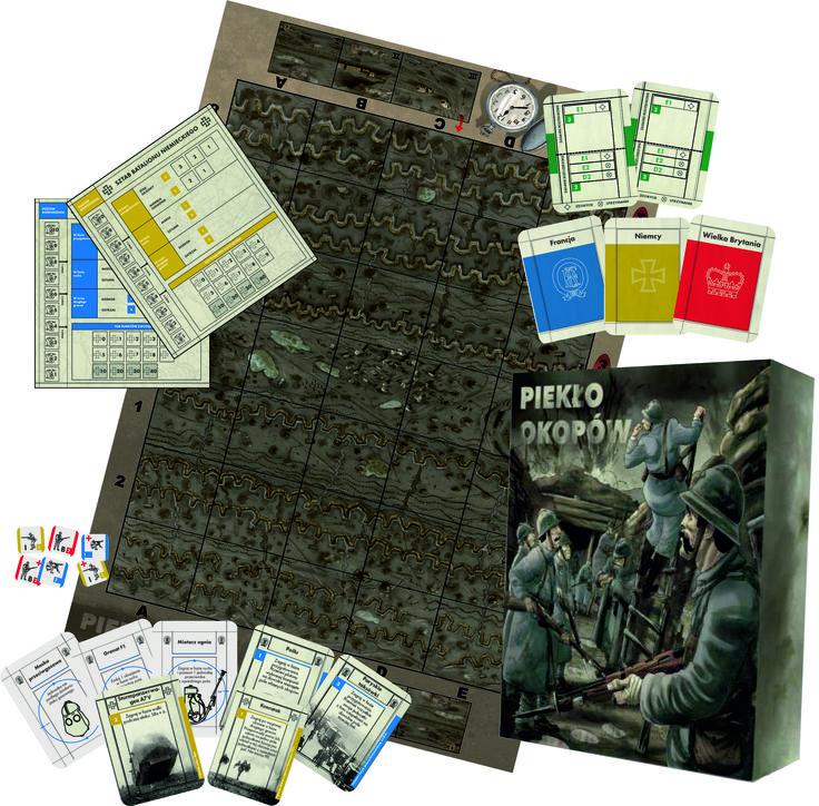 Wizualizacja części zawartości gry - planszy, kart sztabu, kart rozkazów oraz nacji oraz wybranych żetonów i pudełka.