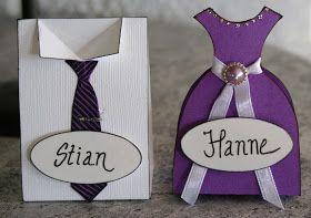 KREATIVE HENDER : Bordkort-Kjole og skjorte med slips