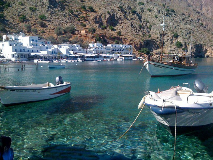 Loutro is such an incredibly soporific place, where there's absolutely nothing ( ... almost ) to do but eat, drink and laze - and where you fast lose any desire to do anything else.  Our Hotel Porto Loutro : http://www.crete-hotels-rooms.com/Reservations/Porto_Loutro.htm  Photo by Alison Murray.