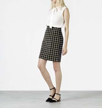 MARCS | All Womens - GRID PENCIL SKIRT