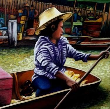 "Saatchi Art Artist Dan Civa; Painting, ""Floating Market, Bangkok, Thailand - No.F."" #art"