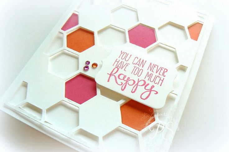 Lovin' the new Hexagon Hive Thinlit Die! Here is makes a fun overlay for a card front.: Stampinup, Su Cards, 2014 Occasions, Hexagon Cards, Occasions Catalog, Hexagons Cards