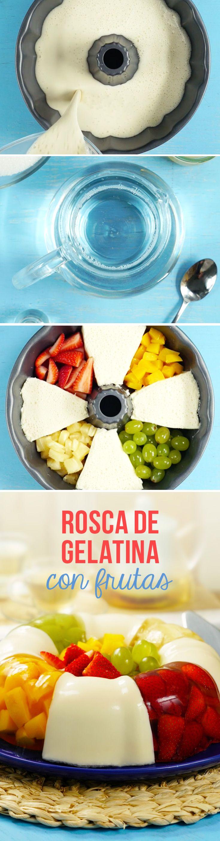 Gelatina de leche con frutas en forma de rosca. Sigue el paso a paso para preparar esta receta de gelatina con frutas para el Día de las Madres.