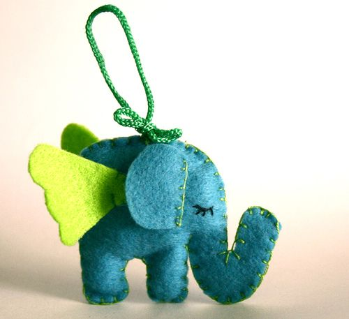 Flying elephant ... maybe a zipper pull, as a broach or a stuffed toy