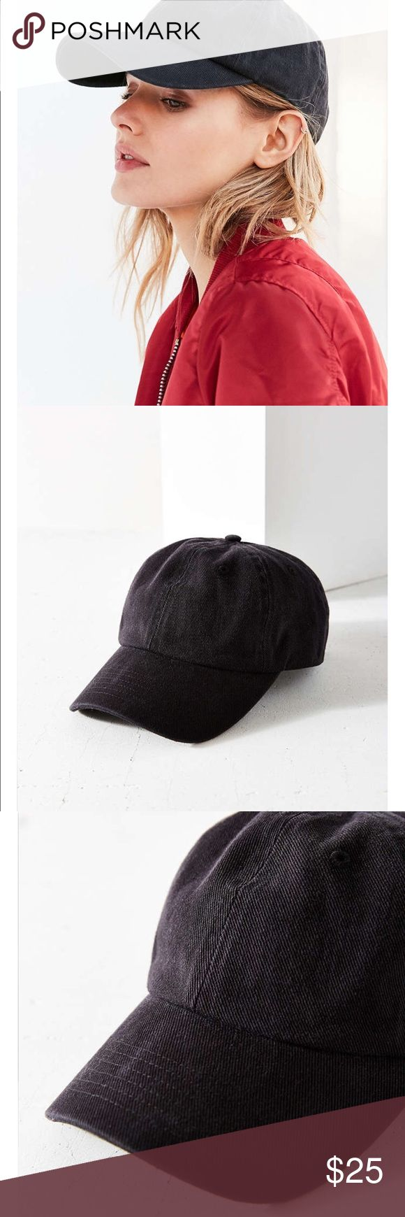 Black washed baseball hat Brand new in package!!!  Black wash cotton baseball cap.  Like and I'll tag you when they are in!!  Coming soon!!! Urban Outfitters Accessories Hats