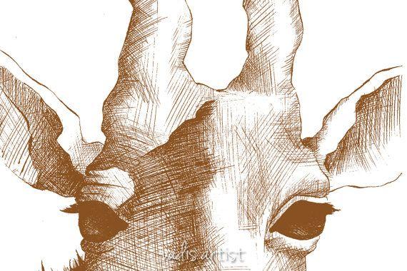 Piccola penna e inchiostro disegno giraffa vivaio di VadisArtist