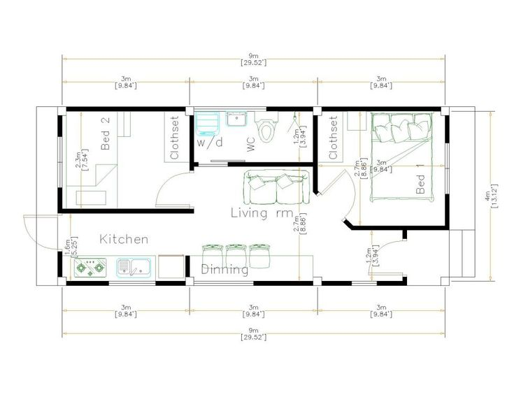 Small House Design Idea 4x9 Meters 36sqm Floor Plan Small House Design Tiny House Design One Bedroom House Plans House floor plan unit of measurement