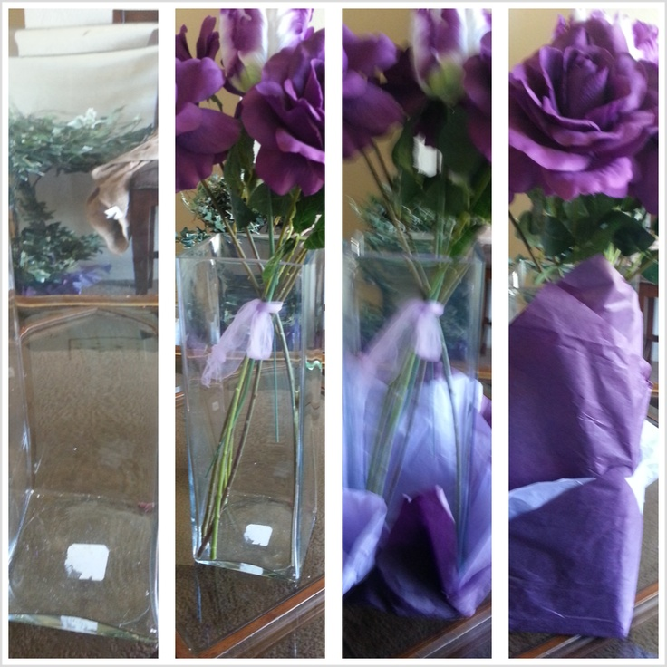 I brought this vase for 10 $ at walmart to use as a centerpiece & instead of filling it with gemstones ~I wrapped it with tissue paper. It cost one dollar from the dollar store & I had enough to wrap some floral peices from around my house! Just get the color to match your colors!