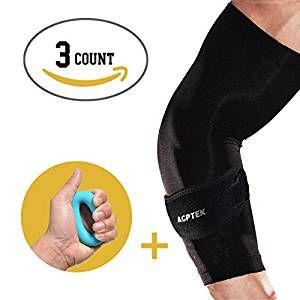 AGPtek 1 Gomitiera + 1 Gomito Manica + 1 Impugnatura- Sollievo dal dolore gomito per Tennis & Golfista - Migliore dell'avambraccio Brace con Gel Pad & supporto gomito