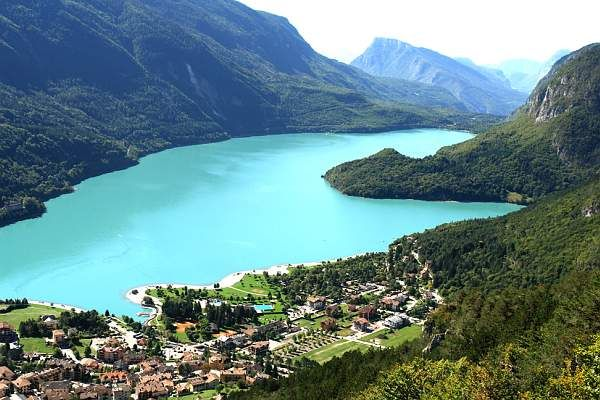 Molveno Lake, the town of Molveno is located in Northern Italian region of Trentino at the foot of the Brenta mountain range