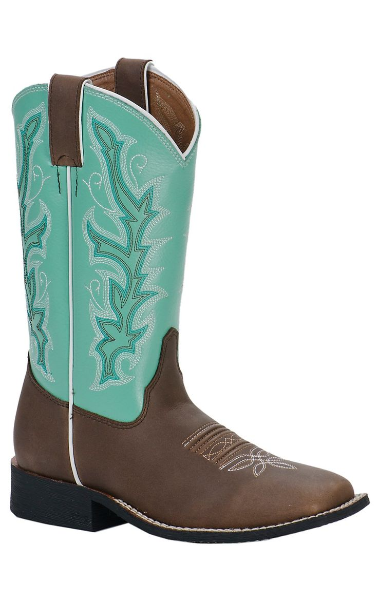 Justin Youth Chocolate Brown with Sea Green Top Square Toe Western Boots