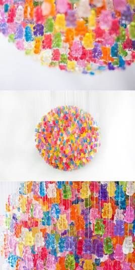 This gummy bear chandelier is a candy lover's dream! New York based artist Kevin Champeny created this spectacular chandelier of approximately 5,000 hand strung gummy bears. This sweet piece of art is even available for purchase (for those of you with an aching sweet tooth)!