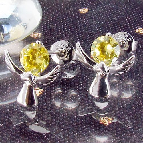 Cercei ingerasi placati cu aur alb 18k cu topaz galben