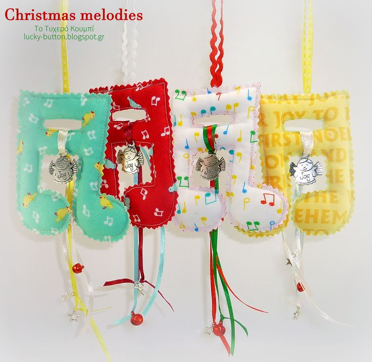 Christmas melodies, Χριστουγεννιάτικες μελωδίες, υφασμάτινες νότες,  κρεμαστά γούρια