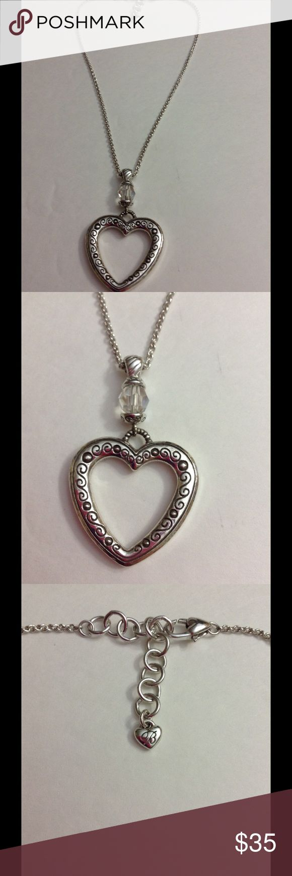 Brighton Heart Necklace Beautiful large heart with a crystal on top . Both sides are the same. Brighton Jewelry Necklaces