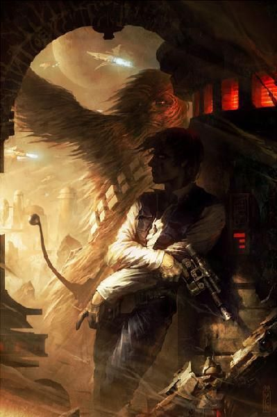 Shadows of Tatooine by Raymond Swanland - Han Solo and Chewbacca - Star Wars Art