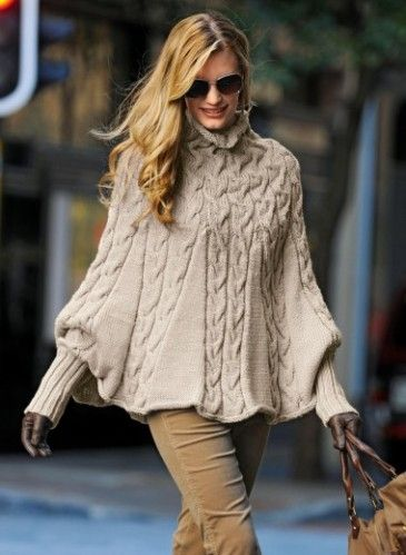 image patron gratuit tricot poncho femme