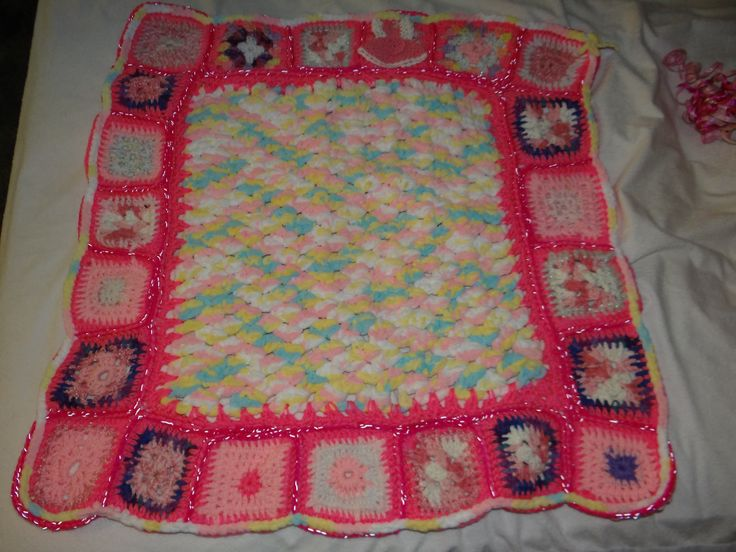 SAMPLE:  Baby Blanket on it's way to Omaha, Nebraska  :)  with a burp bib of same colors.
