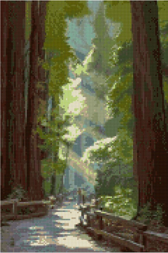 Vintage Muir Woods Redwoods poster Cross Stitch pattern PDF - EASY chart with one color per sheet AND traditional chart! Two charts in one!