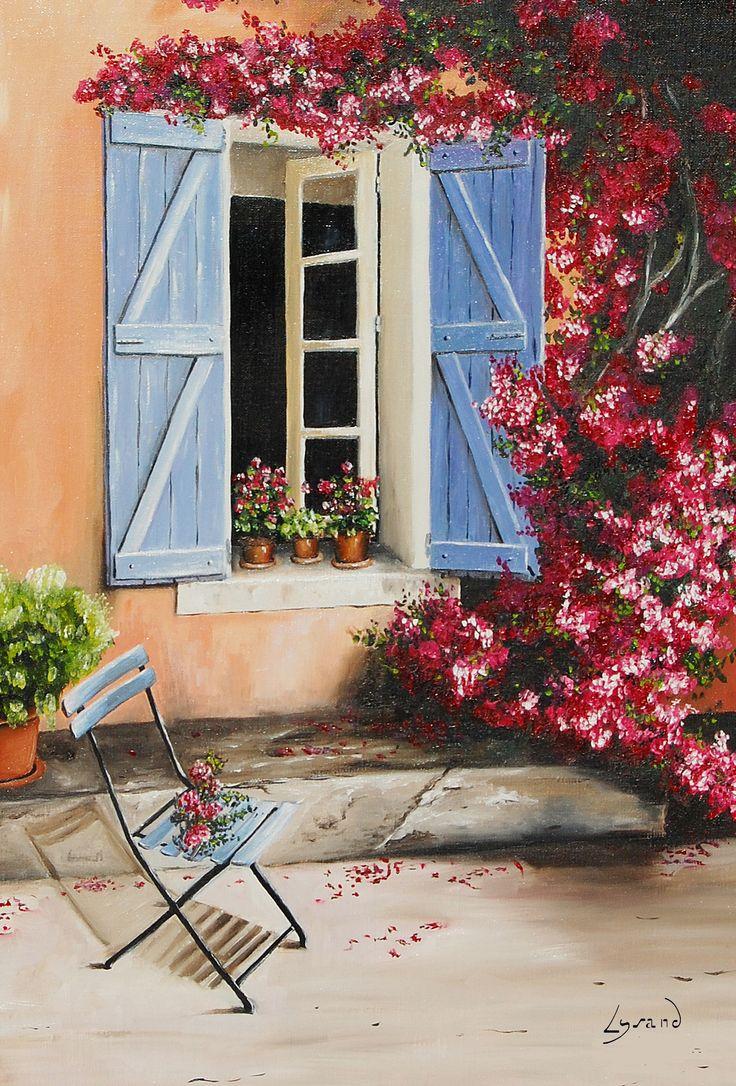 """Reproduction sur toile """" Le bougainvillier""""  Site: http://www.lysandcreations.com/boutique/liste_rayons.cfm?"""