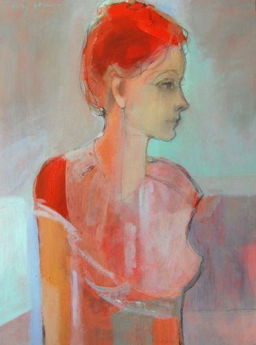 "Kate Long Stevenson, ""La Donna"" oil + charcoal on canvas, ""18X24"""