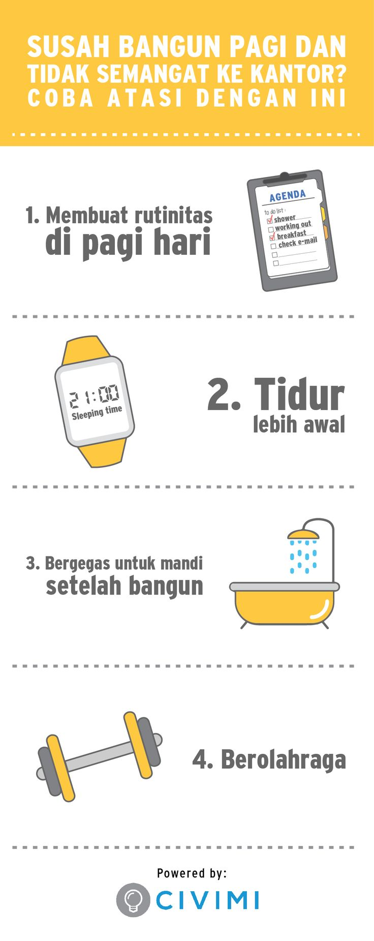 Susah Bangun Pagi dan Tidak Semangat ke Kantor? Coba Atasi dengan Ini (Infographic)