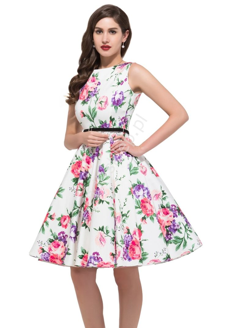 Sukienka w fioletowe i różowe kwiaty | sukienki w stylu pin-up, retro sukienki  86-2