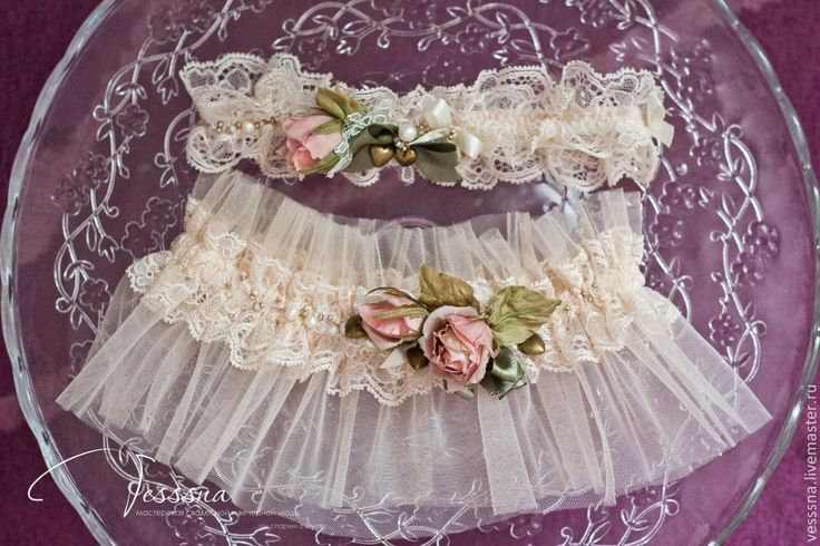 """Купить Свадебные подвязки """"Винтажные"""" - кремовый, подушечка для колец, подушечка свадебная, подушечка красивая"""