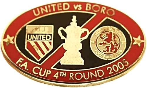 United v Middlesbrough FA Cup Match Oval Metal Badge 2005-2006 BR