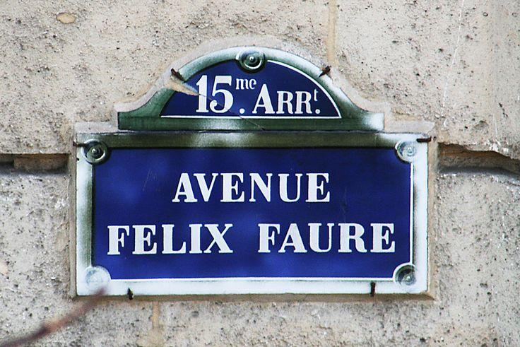 Straatnaambord, Street sign, Rue Avenue Felix Faure, 15me Arrondissement, Parijs, Paris, Frankrijk, France