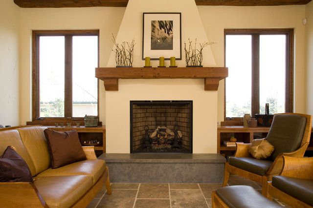 Excellent Home Interior with Fireplace Mantel Shelf under Painting on Wall also Brown Sofas on a Marble Floor