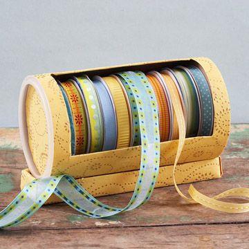 Oatmeal box ribbon holder